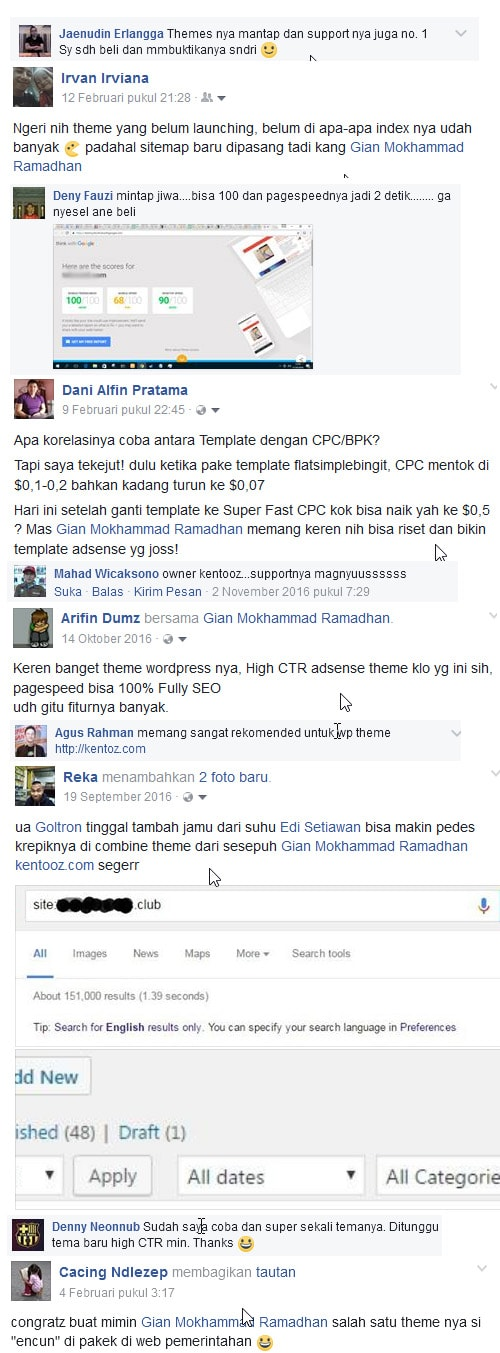 screenshot testi fb