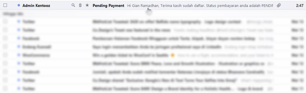 pending invoice email