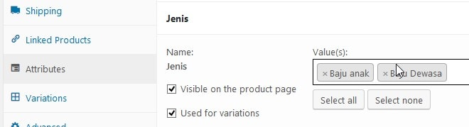 attributes variable products