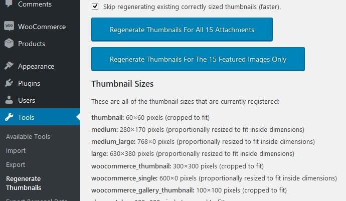 menu regenerate thumbnail